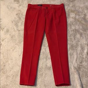 J Crew Red Toothpick Jeans Size 32